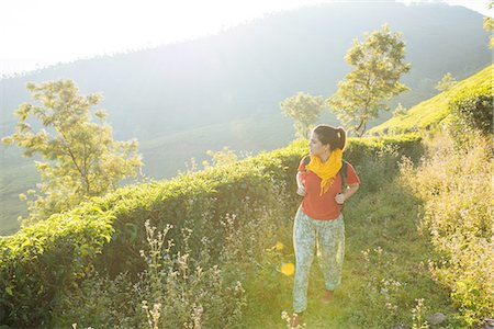 places - Young woman walking among tea plantations near Munnar, Kerala, India Stock Photo - Premium Royalty-Free, Code: 649-08480034