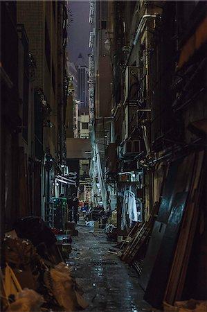 Dark alleyway at night, Hong Kong, China Stock Photo - Premium Royalty-Free, Code: 649-08565542