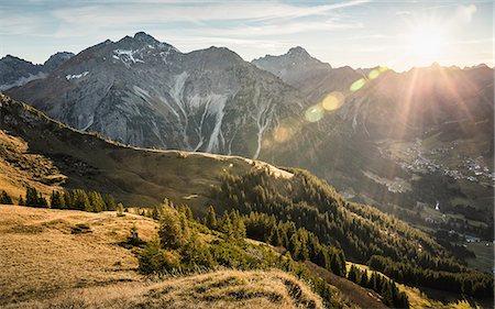 Mountain biking area, Kleinwalsertal, trails below Walser Hammerspitze, Austria Stock Photo - Premium Royalty-Free, Code: 649-08702998