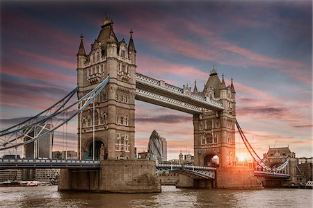 european - Cityscape of London at sunset, showing Tower Bridge, the Walkie Talkie and the River Thames, London, England Stock Photo - Premium Royalty-Free, Code: 649-08922723