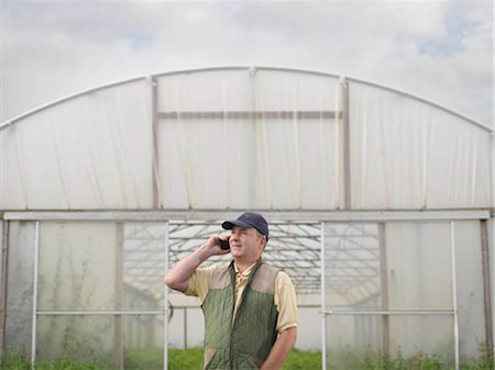 farm phone - Farmer On Mobile Outside Polytunnel Stock Photo - Premium Royalty-Free, Code: 649-02666551