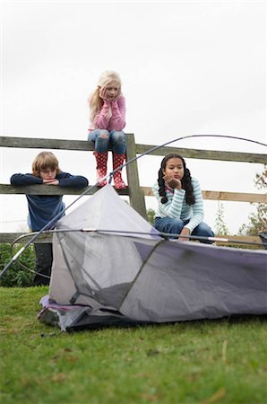 Children with tent Stock Photo - Premium Royalty-Free, Code: 649-02733225