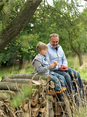family apple orchard - Man and boy with apples,sitting on logs Stock Photo - Premium Royalty-Free, Code: 649-03008695