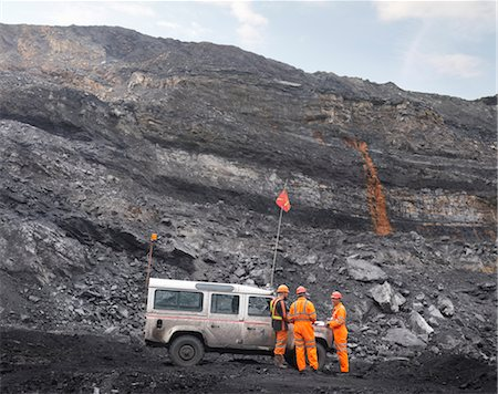 people working coal mines - Coal Miners With Landrover In Mine Stock Photo - Premium Royalty-Free, Code: 649-03294078