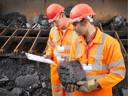 people working coal mines - Coal Workers Inspecting Coal Stock Photo - Premium Royalty-Free, Code: 649-03294072