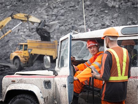people working coal mines - Coal Miners With Landrover In Mine Stock Photo - Premium Royalty-Free, Code: 649-03294080