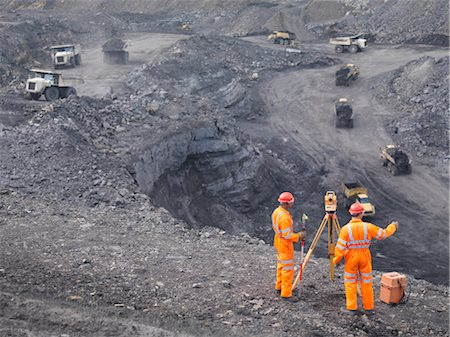 people working coal mines - Coal Miners Surveying Mine From Above Stock Photo - Premium Royalty-Free, Code: 649-03294082