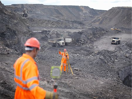 people working coal mines - Coal Miners Surveying Mine Stock Photo - Premium Royalty-Free, Code: 649-03294083