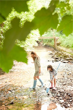 Mother and daughter with nets in stream Stock Photo - Premium Royalty-Free, Code: 649-03294527