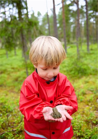 Toddler holding frog in forest Stock Photo - Premium Royalty-Free, Code: 649-03292644