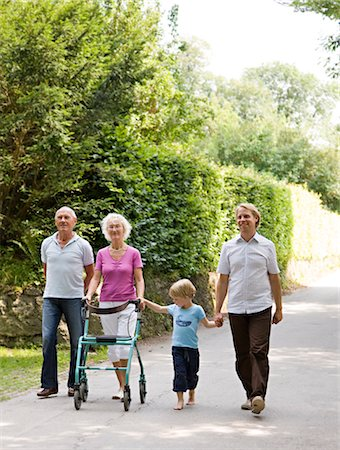disable exercising - senior couple, father and son walking Stock Photo - Premium Royalty-Free, Code: 649-03292713
