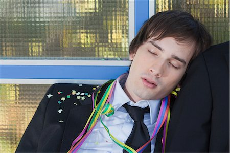 drunk passed out - businessman after party, sleeping Stock Photo - Premium Royalty-Free, Code: 649-03363049