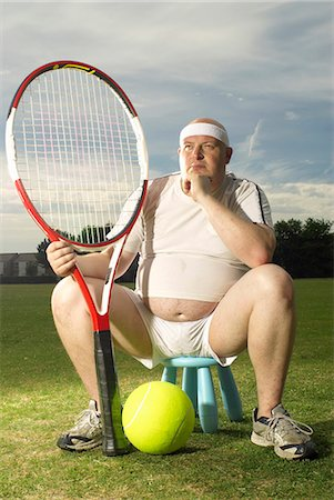 fat man full body - Large tennis player portrait Stock Photo - Premium Royalty-Free, Code: 649-03622520