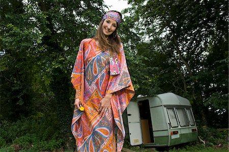 Hippy female by caravan Stock Photo - Premium Royalty-Free, Code: 649-03769702