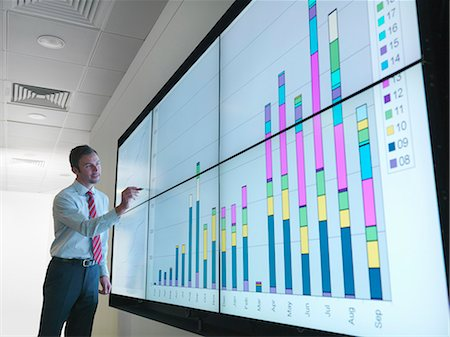 Businessman with graphs on screen Stock Photo - Premium Royalty-Free, Code: 649-03773547