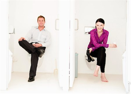 Male and female relax in toilets Stock Photo - Premium Royalty-Free, Code: 649-03797619