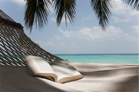 Open book in hammock on beach Stock Photo - Premium Royalty-Free, Code: 649-03881537