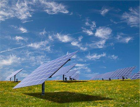 solar power - Solar panels in field Stock Photo - Premium Royalty-Free, Code: 649-03883517