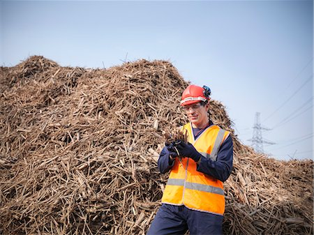 piles of work - Worker holding willow biomass fuel Stock Photo - Premium Royalty-Free, Code: 649-03883719