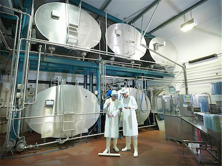 food processing plant - Workers inspecting goat yogurt in dairy Stock Photo - Premium Royalty-Free, Code: 649-03883764