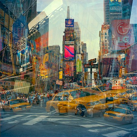 square - USA, New York State, New York City, Manhattan, Times Square, traffic and buildings reflecting in glass Stock Photo - Premium Royalty-Free, Code: 640-05761388