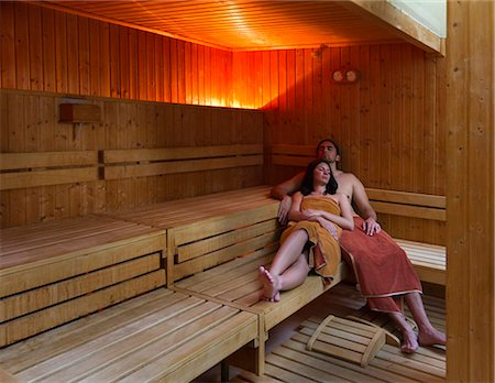 Italy, Tuscany, Young couple relaxing in sauna Stock Photo - Premium Royalty-Free, Code: 640-06050299