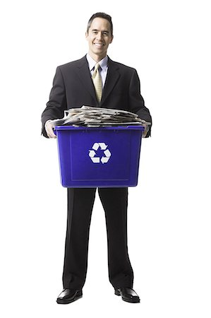 businessperson holding a recycling bin Stock Photo - Premium Royalty-Free, Code: 640-06051171