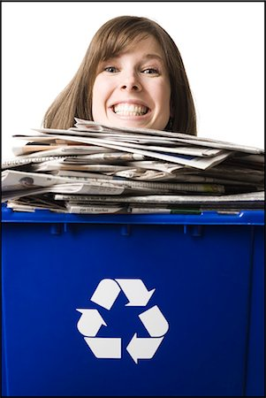 businessperson holding a recycling bin Stock Photo - Premium Royalty-Free, Code: 640-06051173