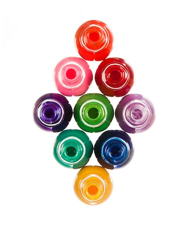 Colorful bottles on white background forming abstract pattern Stock Photo - Premium Royalty-Free, Code: 640-06963518