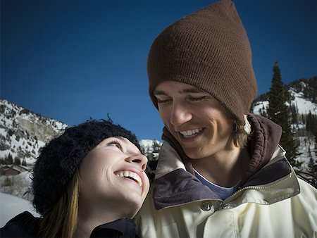 Close-up of a young couple smiling Stock Photo - Premium Royalty-Free, Code: 640-01356149