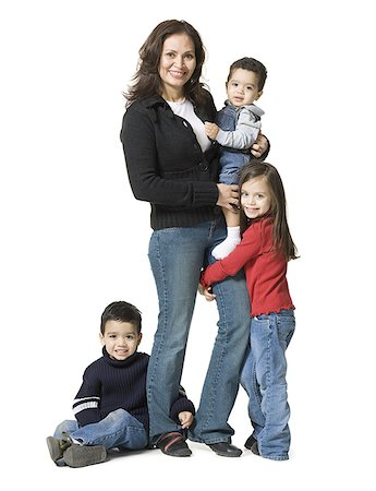 people kissing little boys - Portrait of a mother and her three children Stock Photo - Premium Royalty-Free, Code: 640-01357615