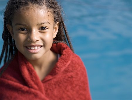 preteen  smile  one  alone - Portrait of a girl wrapped in a towel and smiling Stock Photo - Premium Royalty-Free, Code: 640-01357667