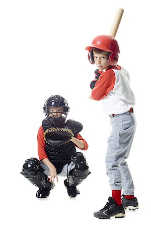 Portrait of two baseball players playing Stock Photo - Premium Royalty-Free, Code: 640-01357908