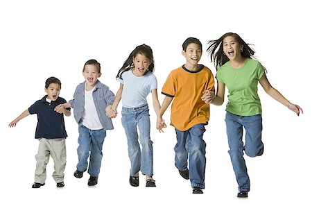 Group of children holding hands and running Stock Photo - Premium Royalty-Free, Code: 640-01350411
