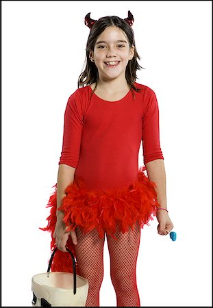 pantyhose kid - Portrait of a girl wearing devil's horns Stock Photo - Premium Royalty-Free, Code: 640-01353166