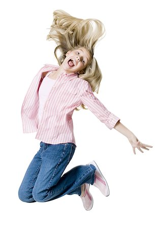 female white background full body - Portrait of a girl jumping Stock Photo - Premium Royalty-Free, Code: 640-01353648