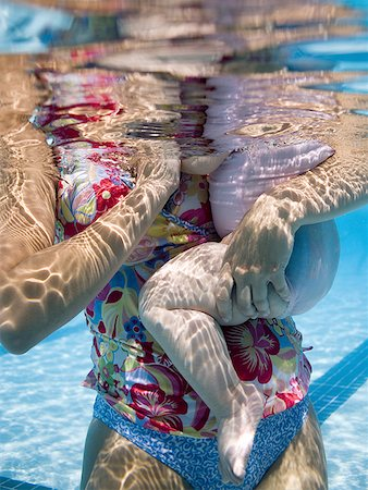 family abstract - Mother and daughter in swimming pool Stock Photo - Premium Royalty-Free, Code: 640-01364146