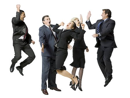 female white background full body - Five businesspeople leaping and smiling Stock Photo - Premium Royalty-Free, Code: 640-01364287