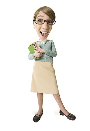 students learning cartoon - Young woman wearing glasses and holding books Stock Photo - Premium Royalty-Free, Code: 640-01364926