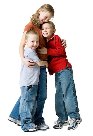 preteen kissing - Portrait of two brothers hugging their sister Stock Photo - Premium Royalty-Free, Code: 640-01362403