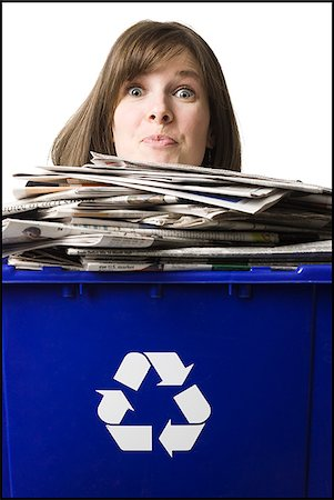 businessperson holding a recycling bin Stock Photo - Premium Royalty-Free, Code: 640-02778412