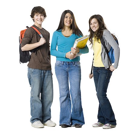 Students with book bags posing Stock Photo - Premium Royalty-Free, Code: 640-02778579