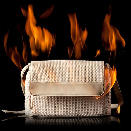 purse on fire Stock Photo - Premium Royalty-Free, Code: 640-02953483