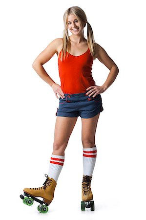 roller skate - Portrait of young woman wearing roller skates Stock Photo - Premium Royalty-Free, Code: 640-03257531