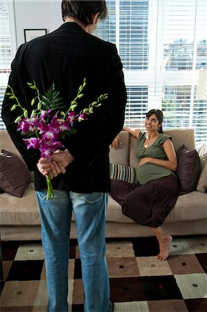 pregnant couple couch - Bouquet of orchids Stock Photo - Premium Royalty-Free, Code: 640-03261349
