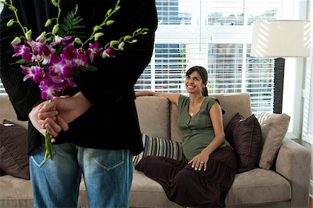 pregnant couple couch - Bouquet of orchids Stock Photo - Premium Royalty-Free, Code: 640-03261351