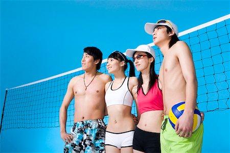 beach volleyball players Stock Photo - Premium Royalty-Free, Code: 642-02006752