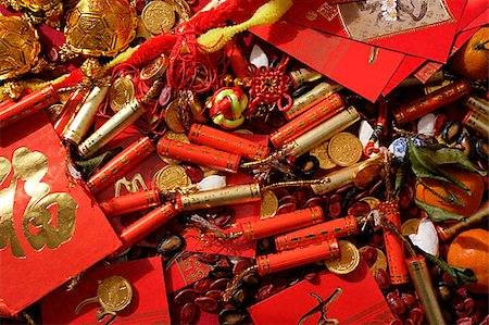 fireworks colored picture - Various of Chinese New Year ornaments Stock Photo - Premium Royalty-Free, Code: 656-02660234