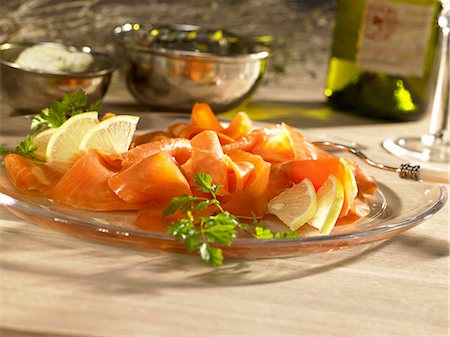 smoked - Smoked salmon with lemons Stock Photo - Premium Royalty-Free, Code: 659-06151714