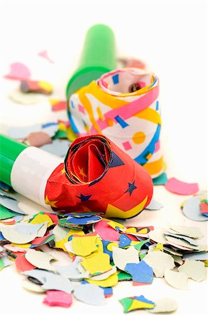 Party blowers and confetti (close-up) Stock Photo - Premium Royalty-Free, Code: 659-06152640